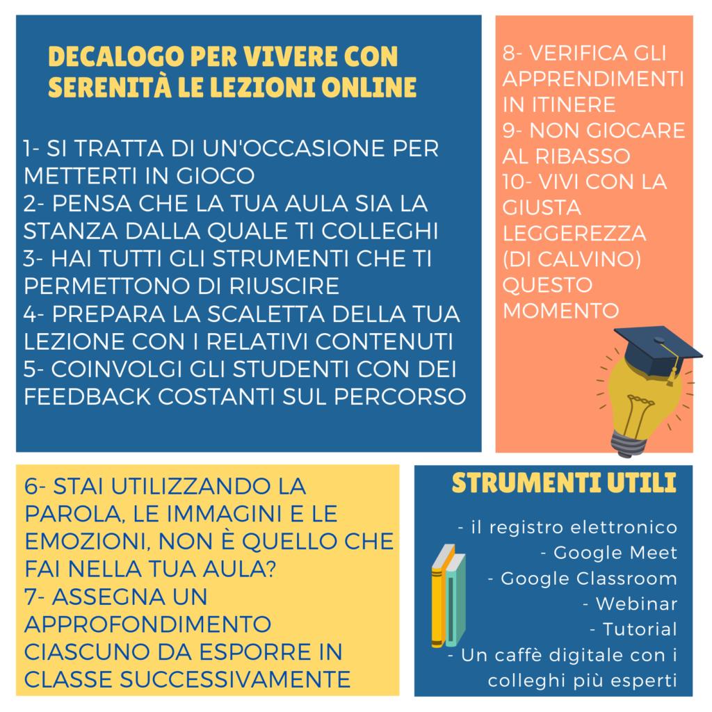 Decalogo per le lezioni on-line del Prof. Meneghetti per la scuola