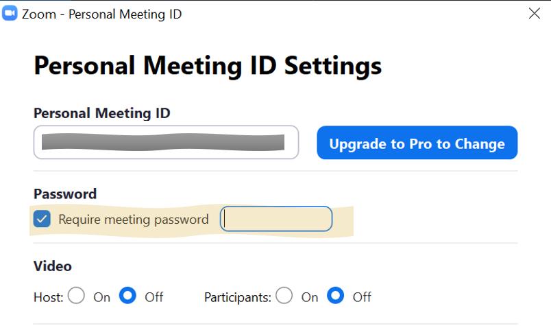 Finestra impostazioni meeting di zoom con l'opzione password abilitata